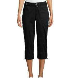 Time and Tru Womens Belted Cargo Capri Pants Black Sz 8 Mid-Rise Stretch Relaxed