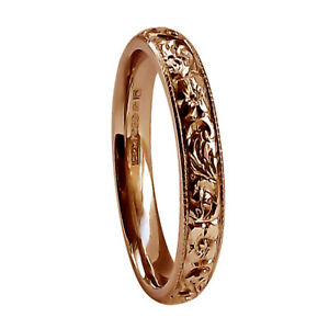 SALE 3mm 9ct Rose Gold Hand Engraved Flower Wedding Ring Court 2.7g @ L. 5 1/2
