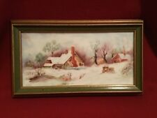 "Vtg. Painting on Tile 1977  ""Winter Homestead"" signed by artist approx. 14""x8"""