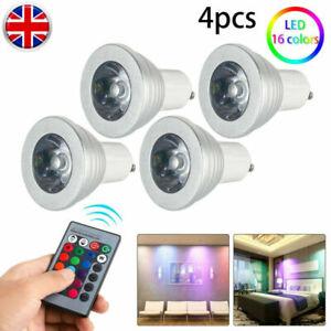 4xGU10 5W LED Bulbs Light RGB 16Colour Changing Spotlight Lamp W/ Remote Control