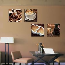 Canvas Art Coffee Bean Cup Wall Kitchen Decor 4 Panels Modern Painting Pictures