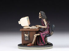 SKELETON LADY AT DESK / COMPUTER TABLE SKULL FIGURINE STATUE  HALLOWEEN