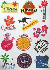 Travel PVC Luggage Stickers Sticker Asia Pacific Europe Australia Canada -A4