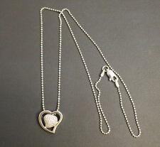 "Silver 925 Heart CZ Pendant on 18"" Silver Chain"