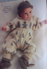 ALL-IN-ONE/ROMPERS RABBIT~HAT ~BOOTEES KNITTING PATTERN SIZE 3-6 MONTHS  (GD38)