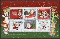 Gibraltar Christmas Stamps 2020 MNH Santa Trees Elves Decorations 6v M/S