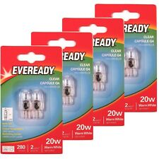 8 x EVEREADY G4 20W Halogen Capsule Bulb CLEAR 280 Lumens 12V Lamp