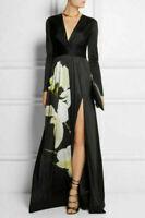 ALTUZARRA for Target Women's Floral Print V-Neck Black Maxi Dress X-Large (XL)~