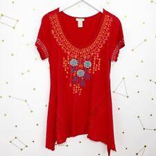 Sundance Tunic Top Size Small Red Embroidered Short Sleeve Asymmetrical Hem Boho