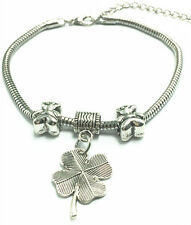 Fashion Tibetan Silver Clover Charm Bracelet Snake Chain Bangle Bear beaded