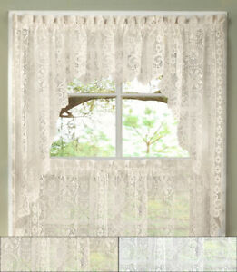 Hopewell Heavy Floral Lace Kitchen Window Curtain Swag Pair