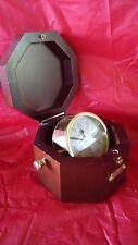 Brookstone quartz clock in mahogany hexagon shaped box; alarm; battery operated