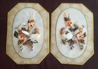 Shell Art Birds Mother Of Pearl Flowers Doves Mid-century Kitsch Pear Framed