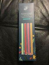 Chic & Tonic 4 Silicone Straws & Brush Cleaner & Plastic Case New