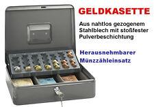 große Geldkasette Geldkasse mit Münzzähler robust Kasse Zählbrett Safe Geld TOP