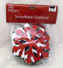 Green Red White Snowflake Garland Banner Christmas Party Bunting Wall Home Decor