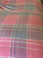 VINTAGE pink check wool retro glamping caravan queen size blanket bedroom bed