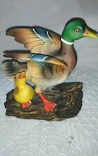 Vintage Porcelain Mallard Duck Wings Open & Baby Figurine Vivid Colors Japan