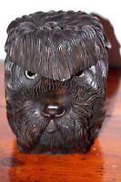 BLACK FOREST HAND CARVED SCOTTIE DOG WEST HIGHLAND WHITE WOOD TOBACCO JAR