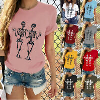 Women Short Sleeve T-Shirt Love Heart Print Fashion Casual O-Neck Tops Blouse 34