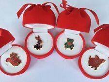 Job Lot Of 4 Mixed  Cloisonné Animal Lapel Pins Badges In Beautiful Gift Box