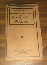 1909 England & Wales Rand McNally Indexed Pocket Map,Railroad System,Cities