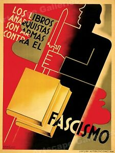 """Spanish Civil War Poster Art """"Books are Weapons Against Fascism!"""" - 20x28"""