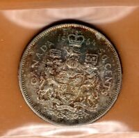 * ICCS MS-65 MS65 1964 Canada Silver 50c Half Dollar Fifty Cents Rainbow Toned *