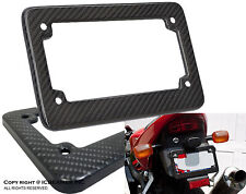 JDM Racing Style 100% Real Carbon Fiber Motorcycle License Black Plate Frame A1