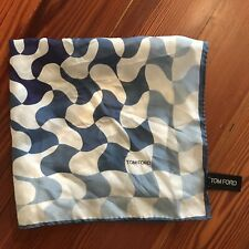 Authentic Tom Ford Silk Made In Italy Blues Pocket Square