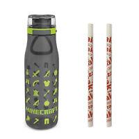 Zak Minecraft 25oz Plastic Water Bottle w/ Locking Lid and Reusable Straws (3pc)