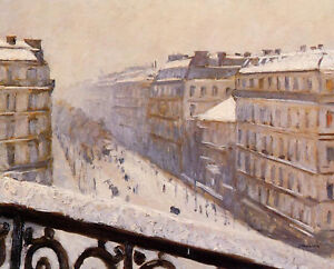 CAILLEBOTTE GUSTAVE BOULEVARD HAUSSMANN SNOW ARTIST PAINTING OIL CANVAS REPRO