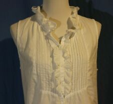Old Navy, Large White Blouse, Pintucks, Double Ruffle Neckline, Sweet & Feminine