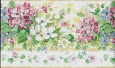 Country Pink, White and Blue Flowers WALLPAPER BORDER