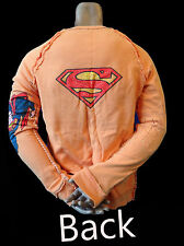 SUPERMAN licensed sweat shirt track sweater gym DC comic vintage ORANGE retro M
