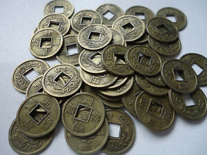 50x Chinese Feng Shui Fortune Auspicious Coins I Ching Bronze 16mm+ Pouch(CO34)