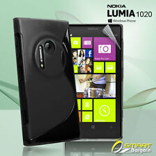 Black S Curve Gel Case For Nokia Lumia 1020 + SP Jelly Tpu Soft Skin Cover
