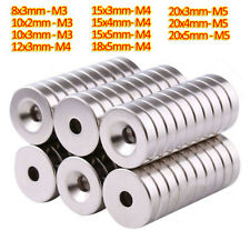 10pcs N35 Neodymium Magnets Countersunk Ring Hole Rare Earth Magnet 8mm 20mm