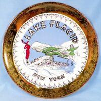 Lake Placid New York Souvenir Plate Girls Ice Skating & Skiing Retro Vintage