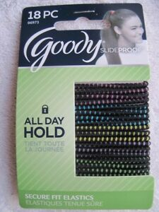 18 Goody Skinny Black w Color Ouchless Stay Put Ponytailer Hair Band Slide Proof