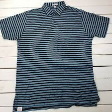 Peter Millar Contemporary Fit Golf Polo Mens XL Blue Striped Short Sleeve P424