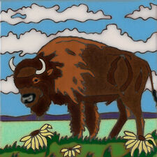 Hand Painted Ceramic Art Tile Buffalo Bison wildlife painting, hot plate, instal