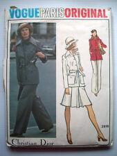 VOGUE Paris Christian Dior Original pattern Size 14 Belted Jacket Skirt Pants