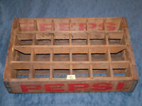 VINTAGE 1966 PEPSI SODA WOOD / METAL 24 BOTTLE  BOX