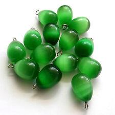 8 Green Cat's Eye Glass 16x12mm Drop Beads