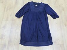 MONSOON PRETTY DEEP PURPLE EMBROIDERED CROCHET NECKLINE TUNIC STYLE DRESS UK 14