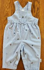 NEW LITTLE ME GIRLS 24M BLUE AND WHITE CHECKS 1PC ROMPER EMBROIDERED 100% COTTON