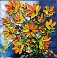 ORIGINAL Oil Painting Stretch canvas  8 x 8 Palette Knife Flowers Art by Angela