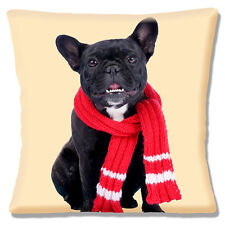 BLACK BRINDLE WHITE FRENCH BULLDOG WITH RED SCARF CREAM 16 Pillow Cushion Cover