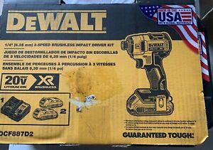 """NEW DEWALT Cordless Impact Driver DCF887D2 Kit 1/4"""" 3 Speed Brushless Kit Brand"""